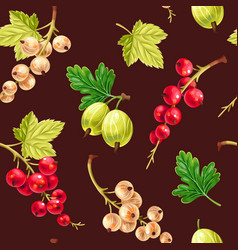 seamless pattern white and red currant berries vector image