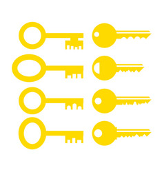 set different yellow key icon vector image