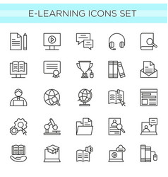 set e-learning line icons vector image