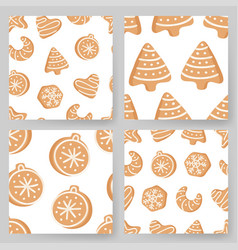 set of cartoon ginger bread cookies hand drawn vector image