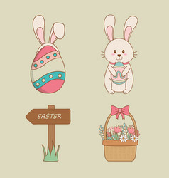 set of happy easter icons vector image