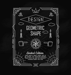 set vintage geometric shape border elements vector image