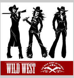 Silhouettes of western cowgirls vector