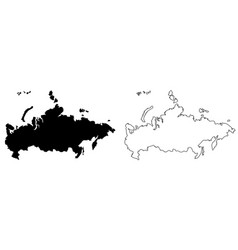simple only sharp corners map russia drawing vector image