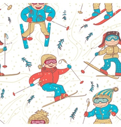 skiers seamless vector image