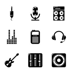 sound accompaniment icons set simple style vector image