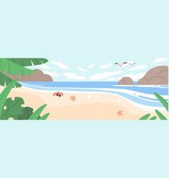 summer landscape with sea coast sand beach sky vector image