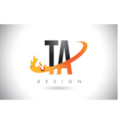 Ta t a letter logo with fire flames design and vector