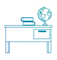 teacher desk with books and planet vector image