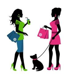 Two women with bags and a dog on a leash vector image