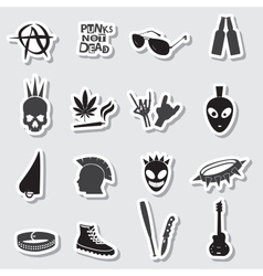 Various black punk stickers set eps10 vector
