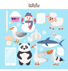 White Learn the color Education set of primary vector
