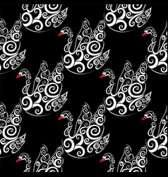 White swan with black bacground vector
