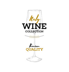 wines italy logo wine shop with image glass vector image