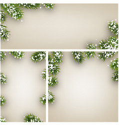 winter backgrounds with fir branches and snow vector image