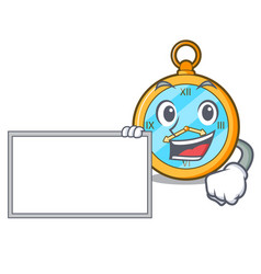 With board pocket vintage watch on a cartoon vector