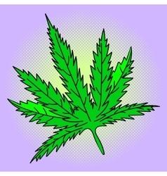 Cannabis leaf Pop art vector image