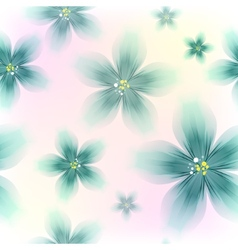 Colorful Blue Floral Seamless Pattern vector image vector image
