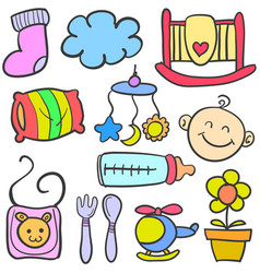 Doodle of baby various toys vector