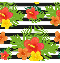 tropical flowers plants leaves and black and vector image vector image