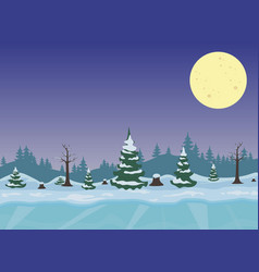 winter night landscape with forest vector image vector image