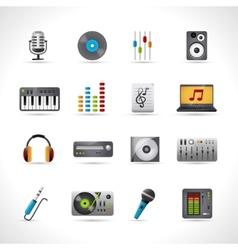 Dj icons set vector