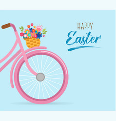 happy easter card with flowers in the basket vector image