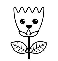 kawaii happy flower tulip leaves cartoon vector image