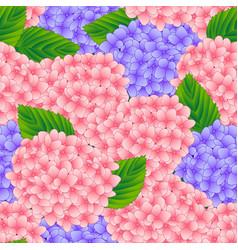 pink and purple hygrangea flower seamless vector image vector image