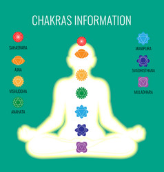 chakras information and white human body on dark vector image vector image