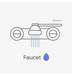 Faucet water tap thin line icon vector
