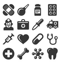 medical icons set on white background vector image