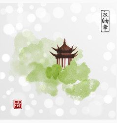 pagoda temple and green forest trees on white vector image vector image