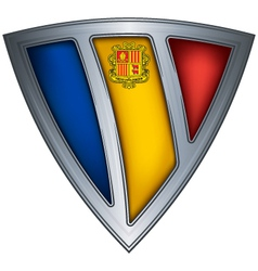 steel shield with flag andorra vector image vector image