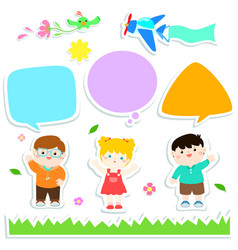 children with bubble speech sticker style design vector image vector image