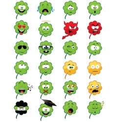 clover shaped emoticons vector image vector image