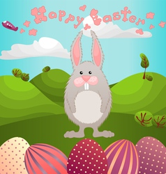 easter greeting with fluffy rabbit vector image vector image
