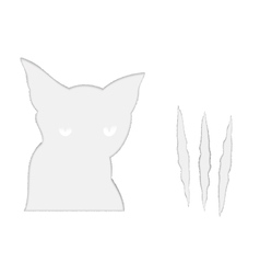 Sad cat and it scratches vector image