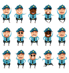 set of flat police men icons vector image vector image