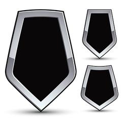 Set of heraldic black emblem with silver outline vector