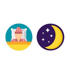 Sleep time set pajamas moon icon vector