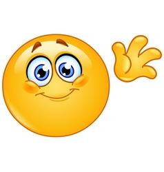waving hello emoticon vector image vector image