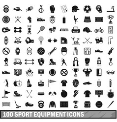 100 sport equipment icons set simple style vector image