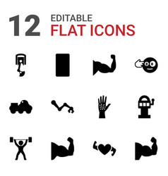12 arm icons vector image