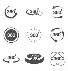 360 degree view related icon set signs and arrows vector