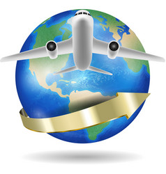 airplane flying over around world planet vector image