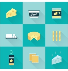 all cheese types icon set vector image