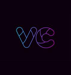 Alphabet letter combination vc v c logo company vector