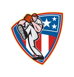 American Baseball Pitcher Shield vector