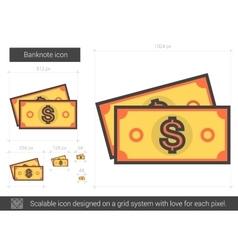 Banknote line icon vector